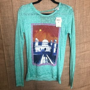 Lucky Brand Lotus XS Long Sleeve Open Back Top